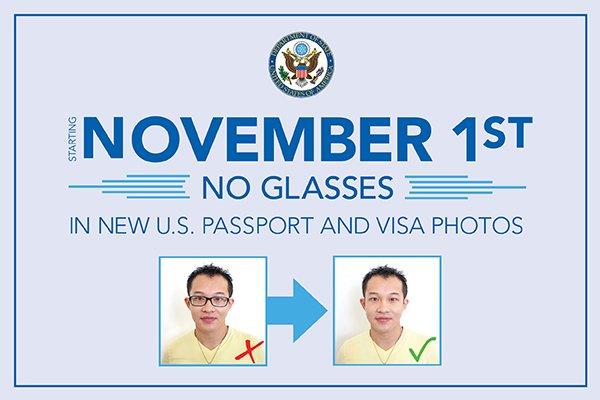 No More Eyeglasses for U.S. passport or U.S visa 美国护照或签证申请人的照片不可以戴眼镜
