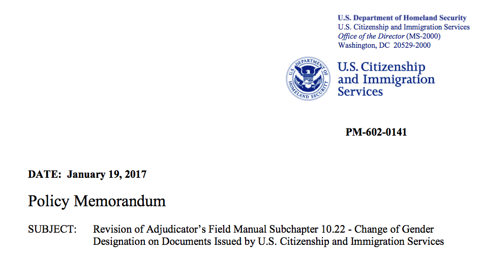 USCIS Memo on Change of Gender Designation on Immigration Documents