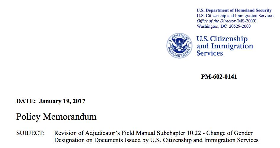 USCIS Memo on Change of Gender Designation on ImmigrationDocuments