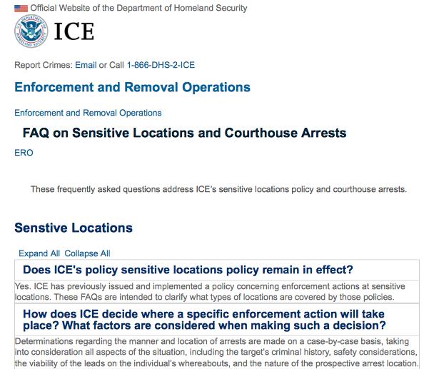 移民执法力度加强 – 移民局将在联邦, 州,和地方法院实行逮捕