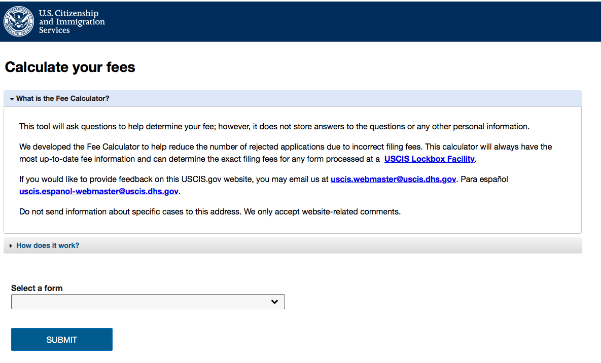 USCIS Announced New Online Tool Calculates Fees