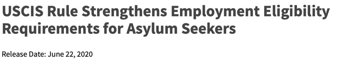美国移民局新规将影响庇护者的工卡